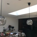 Stunning finished open plan kitchen with a pair of roof lights
